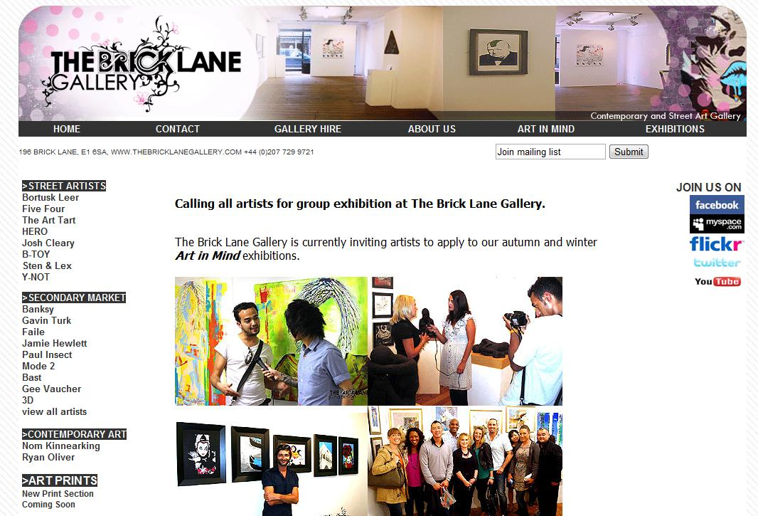 Calling all artists for group exhibition at The Brick Lane Gallery