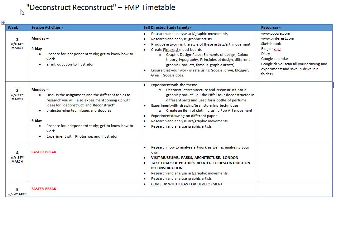 Level 3 Unit 8 FMP timetable March,
