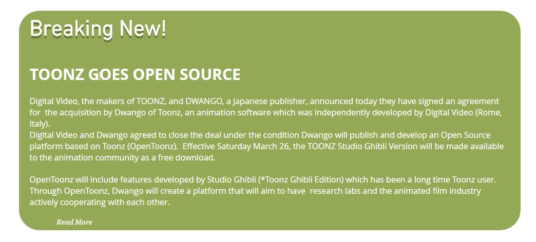 TOONZ GOES OPEN SOURCE