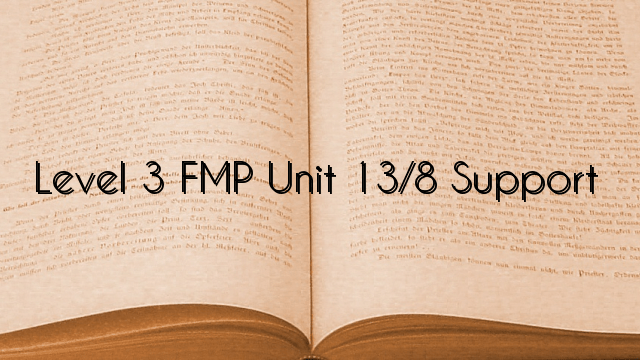 Level 3 FMP Unit 13/8 Support