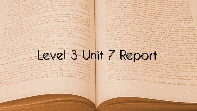 Level 3 Unit 7 Report