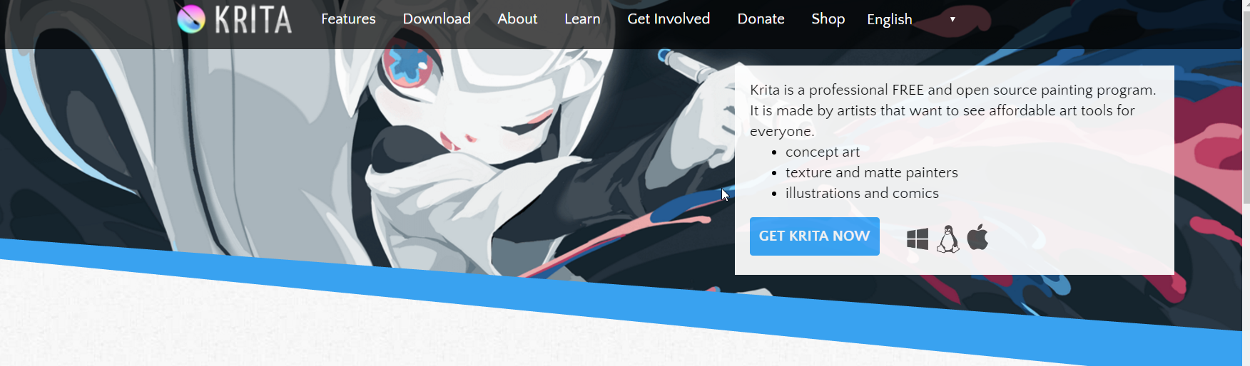 Krita home page screenshot